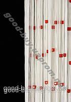 Шторы - нити белые с  цветным квадратным стеклярусом ods-w786