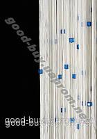 Шторы - нити белые с  цветным квадратным стеклярусом ods-w783
