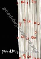 Шторы - нити белые с  цветным квадратным стеклярусом ods-w782