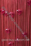 Шторы - нити однотонные стеклярус хрустальное сердце ods-s006