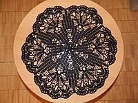 Скатерть салфетка черная, D 52 см., вязаная крючком, ручная работа. Отличный подарок девушке, женщине, маме