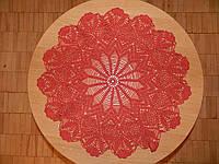 Скатерть салфетка красная, D 52 см., вязаная крючком, ручная работа. Отличный подарок девушке, женщине, маме
