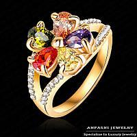 Кольцо 18К  позолота с австрийскими кристалами