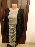 Черно серое маленькое женское платье с драппировкой, трикотаж