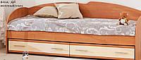 Кровать с выдвижными ящиками К-117 (ольха/дуб молочный)