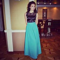 Платье в пол из гипюра и атласа