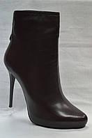 Коричневые кожаные ботиночки Geronea на шпильке и скрытой платформе
