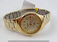 Мужские часы Q&Q Q836-010Y золотистые водозащитные