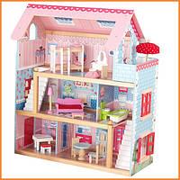 Дом для кукол KidKraft Chelsea Открытый коттедж кукольный дом с мебелью 65054