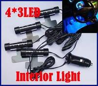 Светодиодная подсветка для салона автомобиля синий цвет 4*3