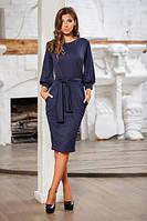 Женское темно-синее платье в деловом стиле