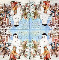 Салфетка для декупажа Дети играют в снежки 289