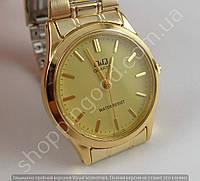 Мужские часы Q&Q Q712-010Y золотистые водозащитные