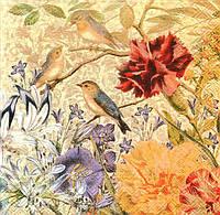 Декупажная салфетка Три птицы в цветах 5012