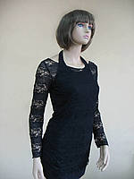 Комплект черного цвета: майка на бретелях-завязках и лонгслив из стрейчгипюра