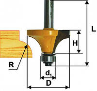Фреза кромочная калевочная ф25.4х13, r6.3, хв.8мм (арт.9241)