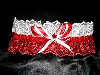 Подвязка на ножку невесты красно-белая