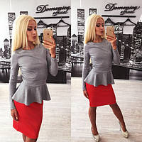 """Стильный женский костюм """"Серая кофта-баска+красная юбка"""" 42-60р"""