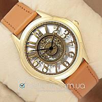 Часы мужские наручные с принтом Retro Mechanic Gold/Brown