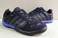 Кроссовки мужские Adidas daroga черно-синие / кожа / весна-осень