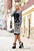 Модное платье осеннее с длинным рукавом из жаккарда, серое, с черно-белым узором