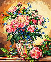 """Картина-раскраска по номерам на холсте """"Пионы в вазе"""", 40х50см. (MG081, КН081)"""