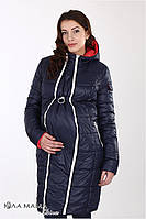 Куртка для беременных, зимняя, двухсторонняя.Синий с коралловым