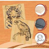 """Набор для выжигания по дереву 2 рисунка """"Попугай"""" и """"Тигр""""  Артикул: 96232"""