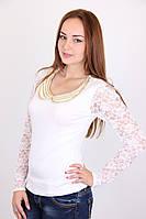 Нарядная женская блуза с гипюровым рукавом  в белом цвете