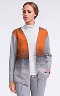 Женский теплый кардиган с шерстью серо-оранжевого цвета. Модель U18 Sunwear.