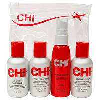 Мини-набор - шампунь, кондиционер, шелк для волос, термоспрей CHI Summer Travel Set
