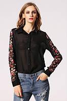 Модная полупрозрачная женская рубашка с цветочным принтом на рукавах