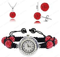 Часы с шамбала браслетом : Браслет Shamballa/Серьги/Ожерелье Комплект Ювелирных изделий (красный)