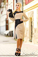 Элегантное двухцветное платье, эффектно сочетающее в себе классику и модерн, платье футляр, с длинным рукавом