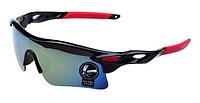 Мужские солнцезащитные очки спортивные красно-черная оправа, Очки для спорта, для велосипеда