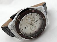 Мужские часы HUBLOT - Big Bang черный ремешок, цвет циферблата белый