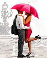 """Раскраска по номерам """"Влюбленные под алым зонтом Худ МакНейл Ричард"""""""