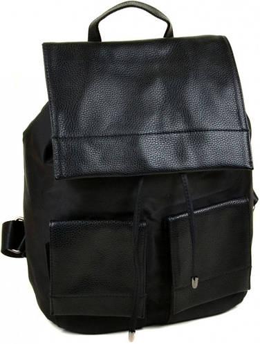 Классический рюкзак из искусственной кожи нейлон 2641-1 black, черный