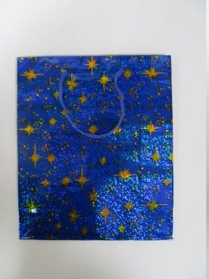 """Пакет подарочный  бумажный с голограммой  """"Яркие звезды"""""""