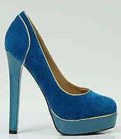 Туфли женские голубые Т443