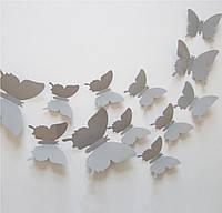 Бабочки 3D серые 3Д декор наклейки