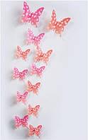 Бабочки 3D красные в горошек 3Д декор наклейки