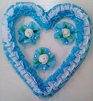 Свадебное сердце для украшения свадебного авто (голубое)