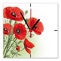 """Часы настенные  """"Маки полевые""""  стеклянные"""