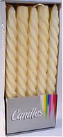 Свеча спиральная парафиновая 10шт цвет слоновая кость