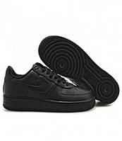 Кроссовки Nike Air Force 1 low Черные мужские кожаные Оригинал