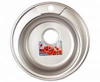 Мойка для кухни врезная круг 490 х 165/180 ULA 0,8 матовая