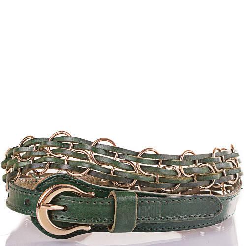 Женский плетёный кожаный ремень ETERNO (ЭТЕРНО) ETS278-4 зеленый