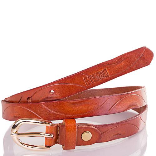 Женский узкий кожаный ремень ETERNO (ЭТЕРНО) ETST03-10 коричневый с красно-оранжевым оттенком
