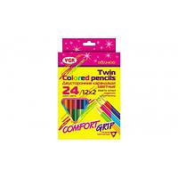 Карандаши цветные двухсторонние треугольные с точилкой 24 цвета VGR